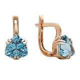 Золотые серьги с голубым топазом Верена