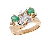 Золотое кольцо в красном цвете с изумрудами и бриллиантами Reina