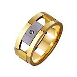 Золотое обручальное кольцо Стильная мозаика с фианитами