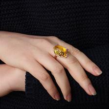 Эксклюзивное золотое кольцо Символ солнца с натуральным янтарём