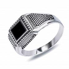 Серебряный перстень Фабио с обсидианом