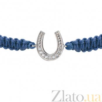 Детский плетеный браслет с серебряной вставкой и фианитами Подкова на удачу, 10-10см 000080635