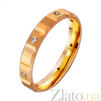 Золотое обручальное кольцо с фианитами Богатство TRF--412859