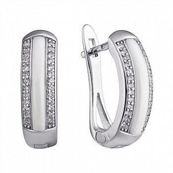 Серебряные серьги Modern Fashion с белой керамикой и цирконием 000031118