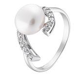Серебряное кольцо Ундина с жемчугом и цирконием