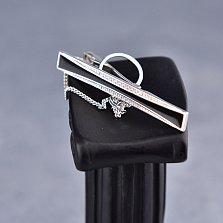 Серебряный зажим для галстука Грег с дорожками белых фианитов и черной эмалью