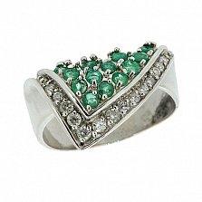 Серебряное кольцо с цирконием и изумрудами Косынка