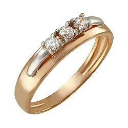 Золотое кольцо в комбинированном цвете с белыми фианитами 000101877