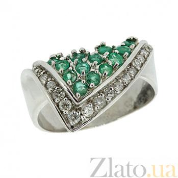Серебряное кольцо с цирконием и изумрудами Косынка ZMX--RCzE-6005-Ag_K
