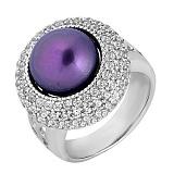 Серебряное кольцо Ардин с чёрным  жемчугом и цирконием