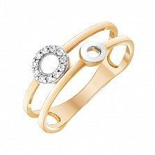 Кольцо из красного золота Круговые пути с белым цирконием