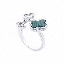 Серебряное кольцо Волшебный клевер с имитацией малахита и фианитами в стиле Ван Клиф