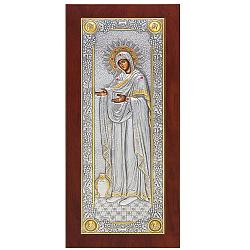 Серебряная икона Божья Матерь Геронтисса с красными фианитами, позолотой и эмалью, 22х10см 000004791