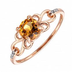 Кольцо в комбинированном цвете золота с цитрином и фианитами 000136630