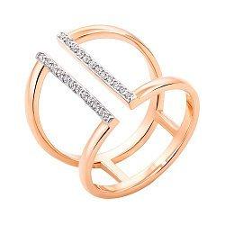 Золотое кольцо из красного золота с цирконием и родированием 000130292