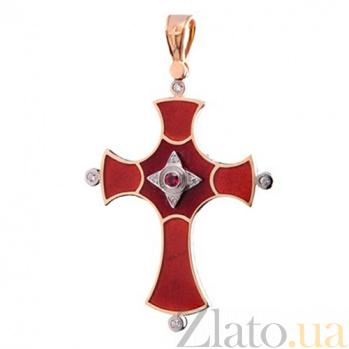 Золотой крестик с горячей эмалью, рубином и бриллиантами Мир KBL--П147/комб/руб