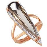 Золотое кольцо Галадриэль с раухтопазом и фианитами
