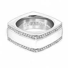 Золотое кольцо с топазами и эмалью Утро и вечер