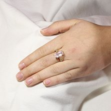 Золотое кольцо Рикарда с розовым кварцем и фианитами