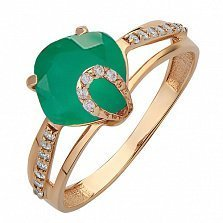 Золотое кольцо Эвелин с агатом и фианитами
