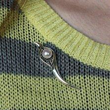 Серебряная брошка Нежная лилия с жемчужиной