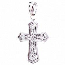 Крест из серебра Восхваление с цирконием