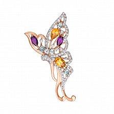 Золотая брошь Яркая бабочка с аметистами, цитринами, голубыми топазами и фианитами