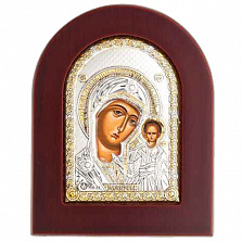 Икона Казанской Божьей Матери серебро с позолотой