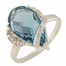 Серебряное кольцо Франческа с топазом лондон и фианитами