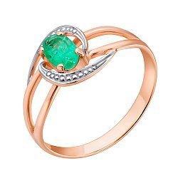 Золотое кольцо в красном цвете с изумрудом Альда