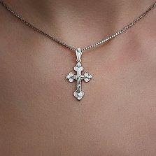 Крестик из белого золота Сила веры с бриллиантами