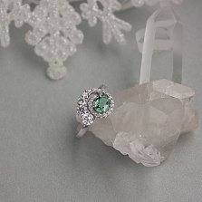 Серебряное кольцо Галактика с зеленым кварцем и фианитами