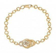 Женский золотой браслет с цирконами Амаранта