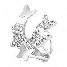Серебряное разомкнутое кольцо Стая весенних бабочек с фианитами
