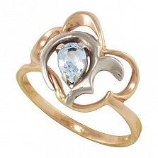 Золотое кольцо Воздушная симфония в комбинированном цвете с топазом