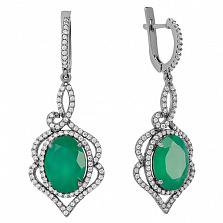 Серебряные серьги-подвески Василиса с зелёным агатом и цирконием