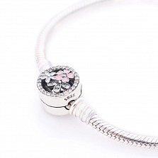 Серебряный браслет для шармов Букет с эмалью и фианитами