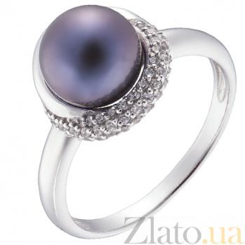Кольцо в белом золоте Даная с черным жемчугом и фианитами 000031755