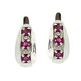 Серебряные серьги с бриллиантами и рубинами Изабель