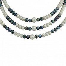 Многослойное ожерелье Мирабель из черного и белого жемчуга