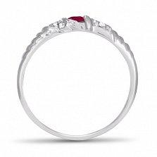 Золотое кольцо Бавария в белом цвете с синтезированным рубином и фианитами