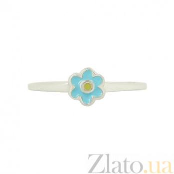 Серебряное кольцо с эмалью Незабудка 3К544-0006