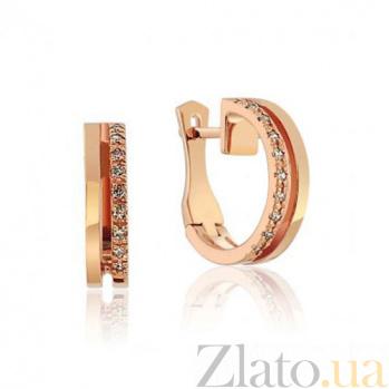 Золотые сережки с фианитами Лас-Вегас EDM--С0352