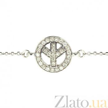 Золотой браслет в белом цвете Мир ZMX--BCD-00200\1w_K