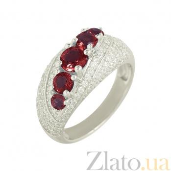 Серебряное кольцо с гранатами и цирконием Азиза 3К846-0403