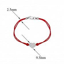 Шелковый браслет Сердце с серебряной вставкой и застежкой и фианитами