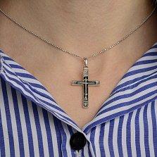 Серебряный крест Оберег с черной эмалью