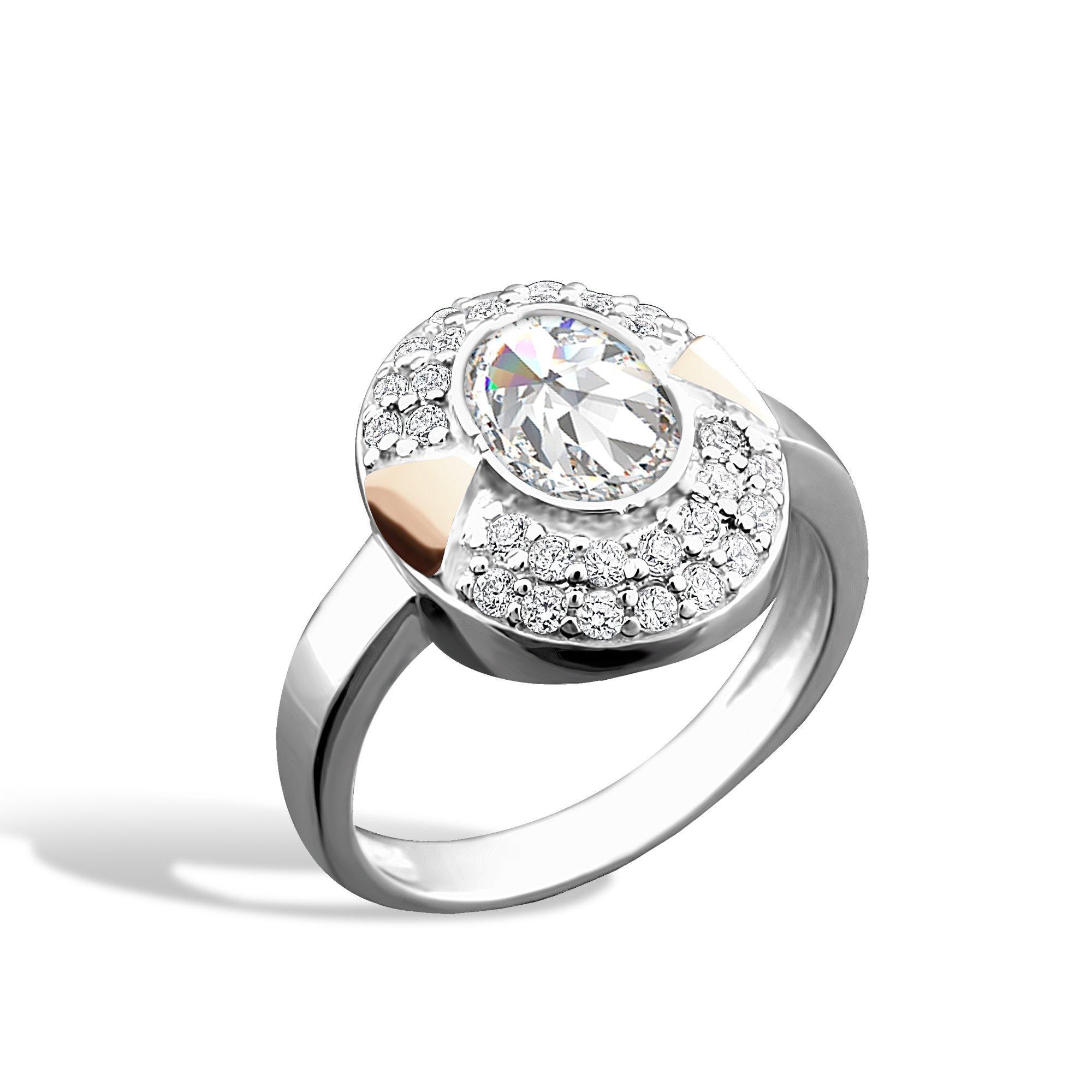 Серебряное кольцо Сальвия с золотыми накладками и фианитами
