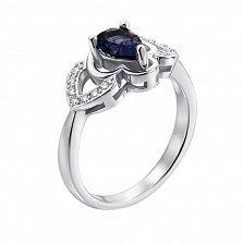 Серебряное кольцо Марселина с сапфиром и фианитами