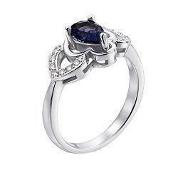 Серебряное кольцо с сапфиром и фианитами 000117796